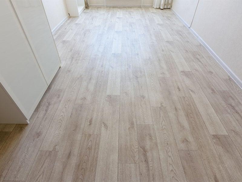 Linoleum flooring covers on the bedroom