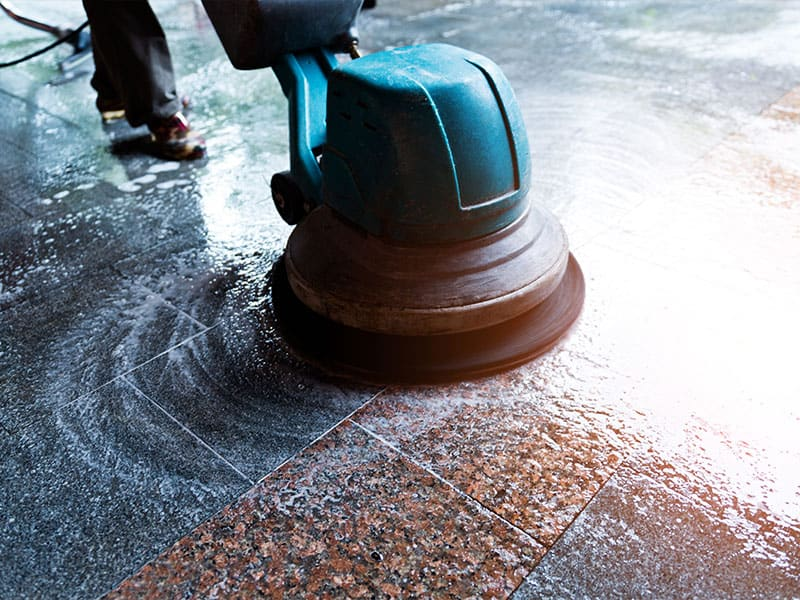 Rinse your marble floors with cool and clean water