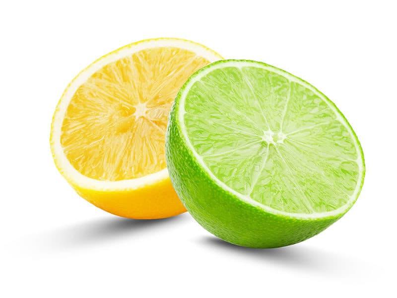 Half Lime Lemon Isolated on White