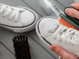 Hand Cleaning White Sneakers