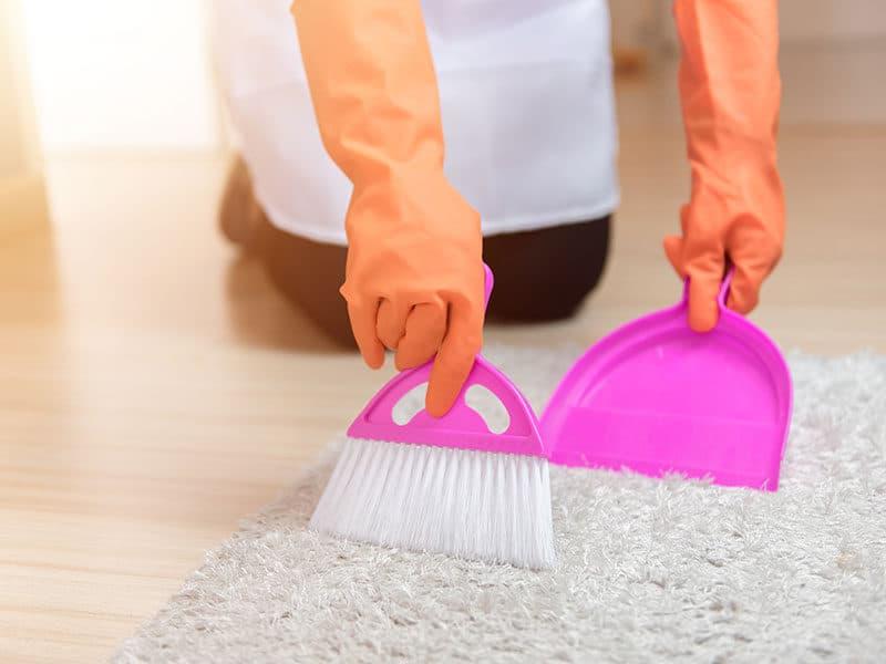 Sweeping Carpet by Broom