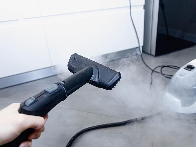 Cleaning Floor by Steam Mop