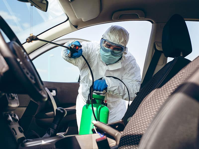 Disinfecting Inside Car