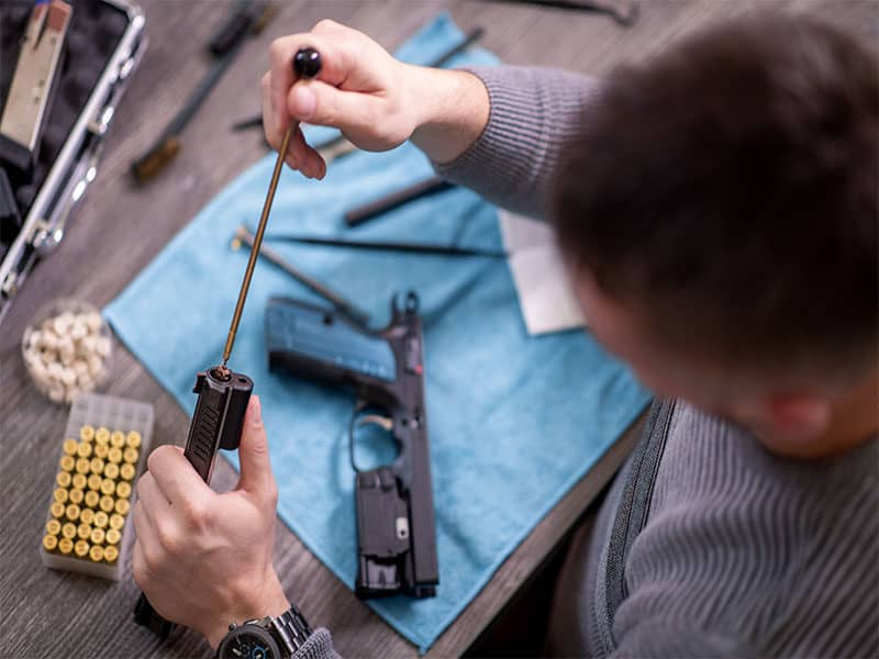 Gunsmith Cleaning Gun Disassembly