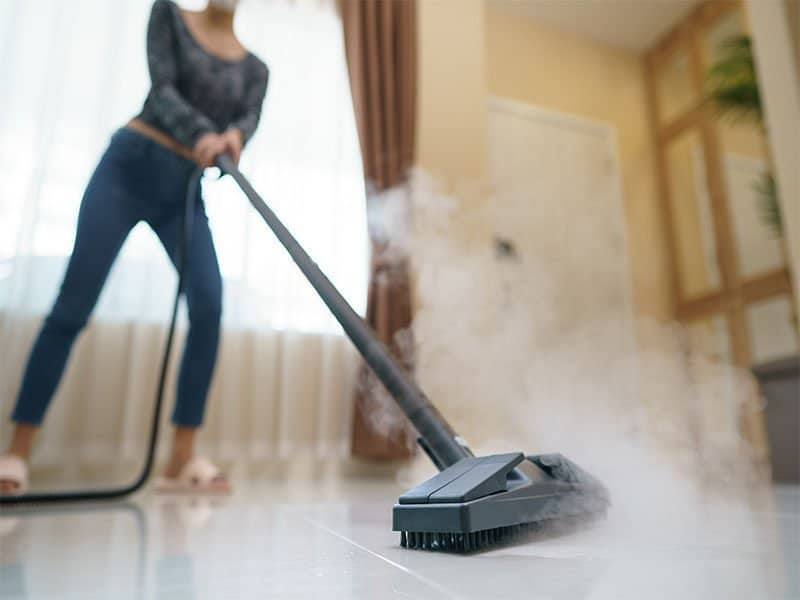 The Floor With Steam Mop