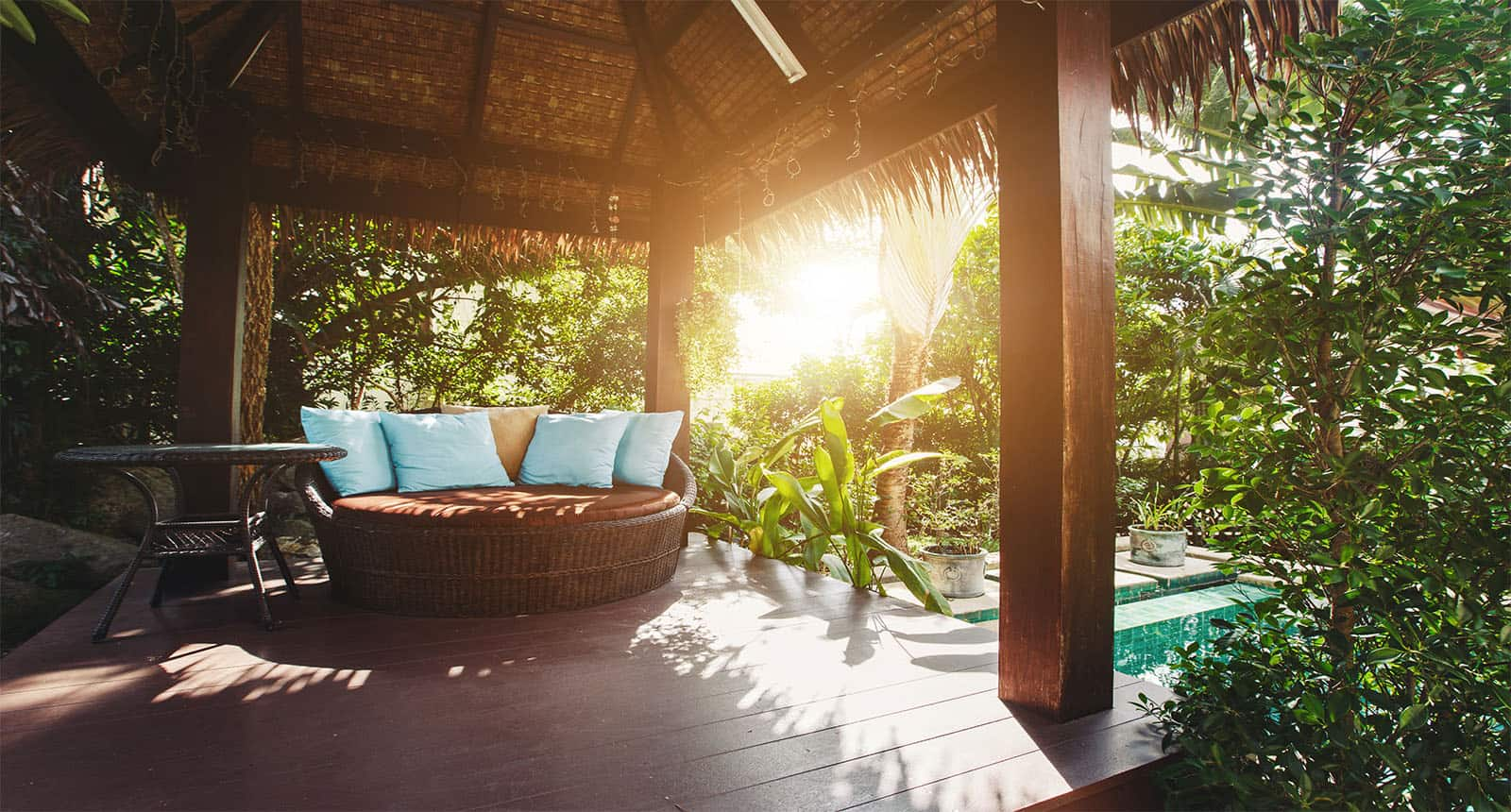 Luxury Gazebo Chair Pillows Villa