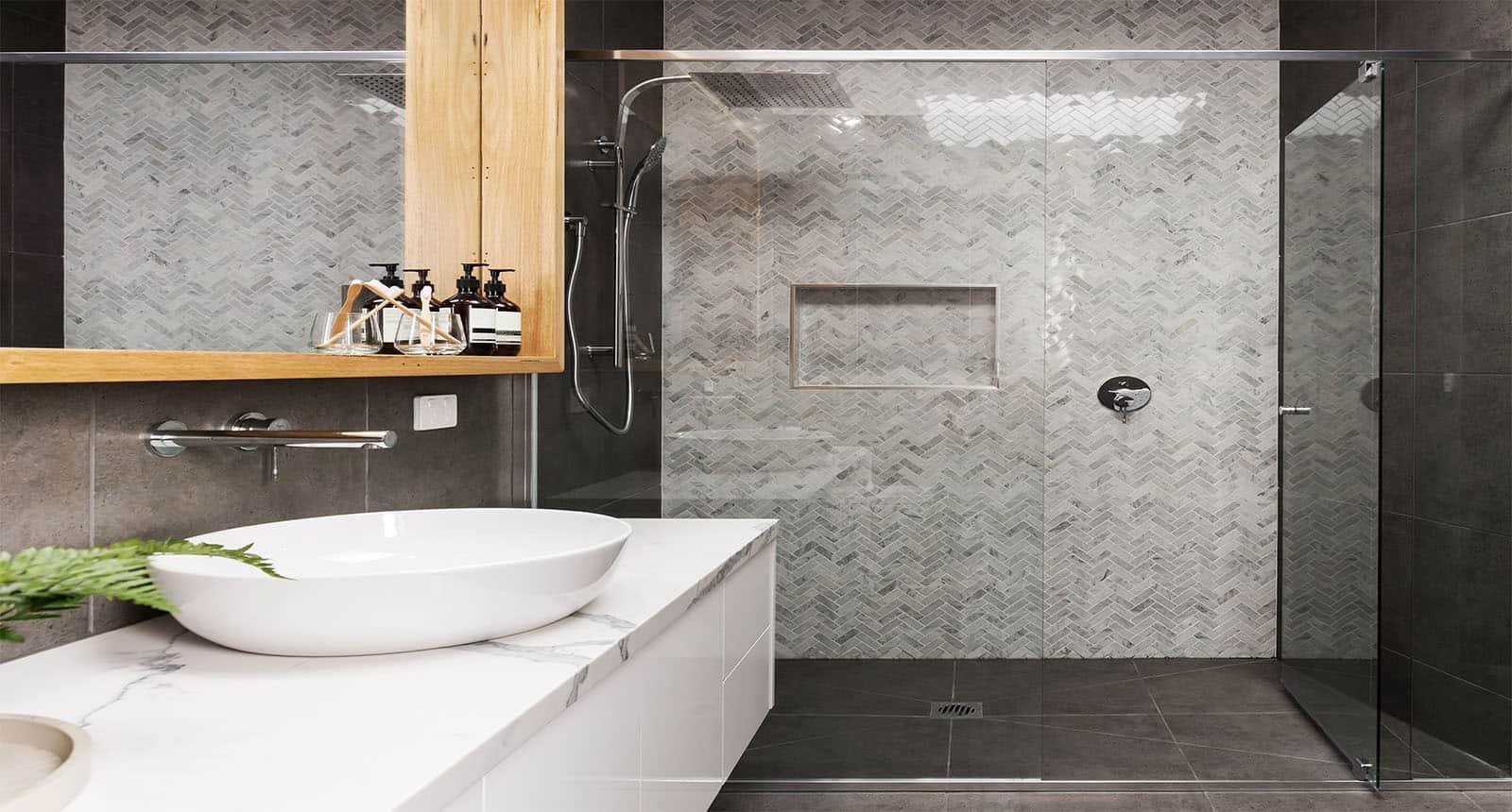 Marble Mosaic Herringbone