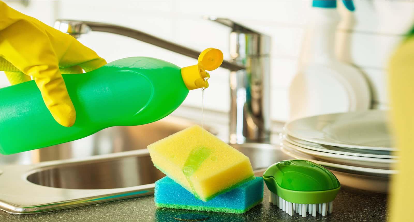 Pouring Dishwashing Liquid