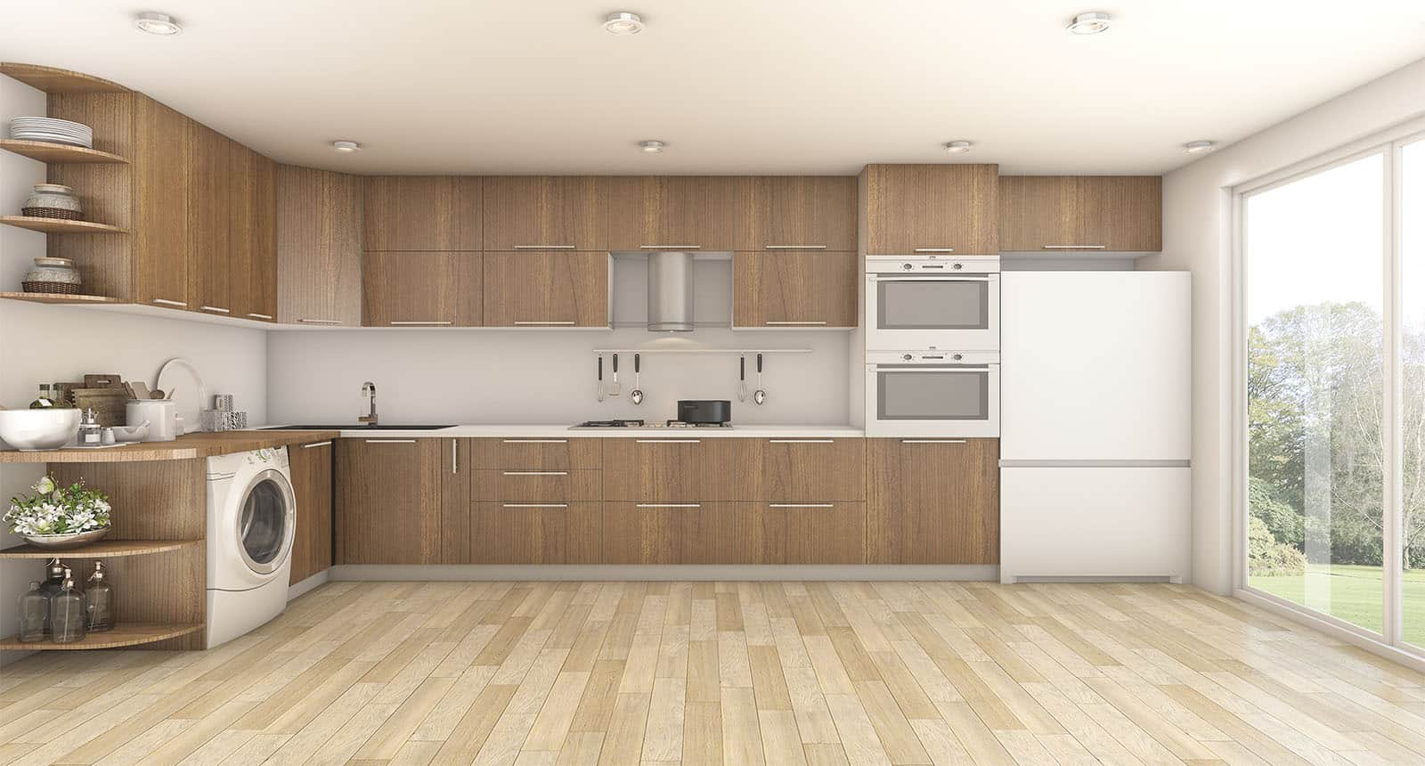 Rendering Wood Laundry Kitchen