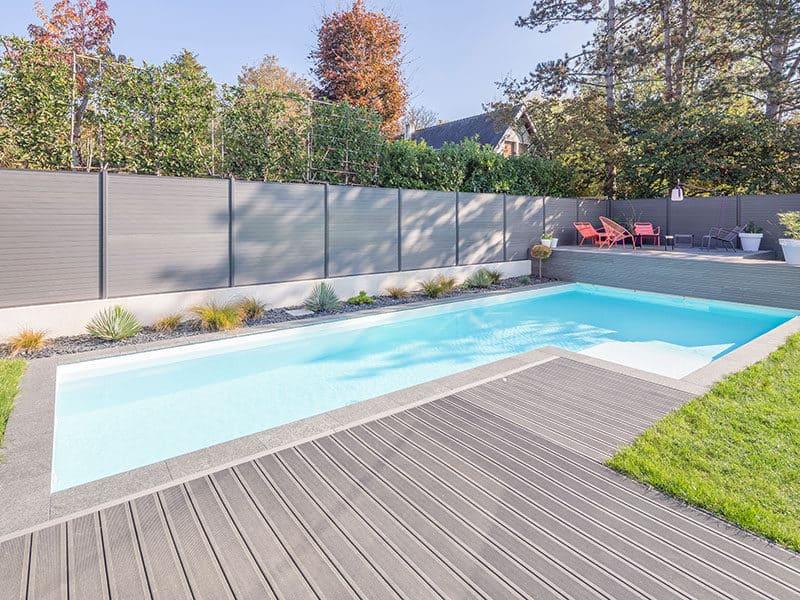 Aluminum deck around the pool