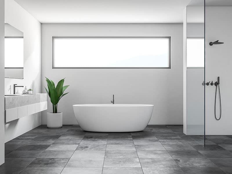 Bathroom interior white walls
