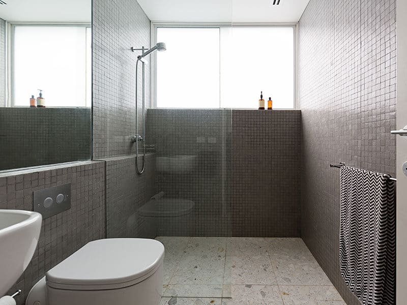Terrazzo floors in bathroom