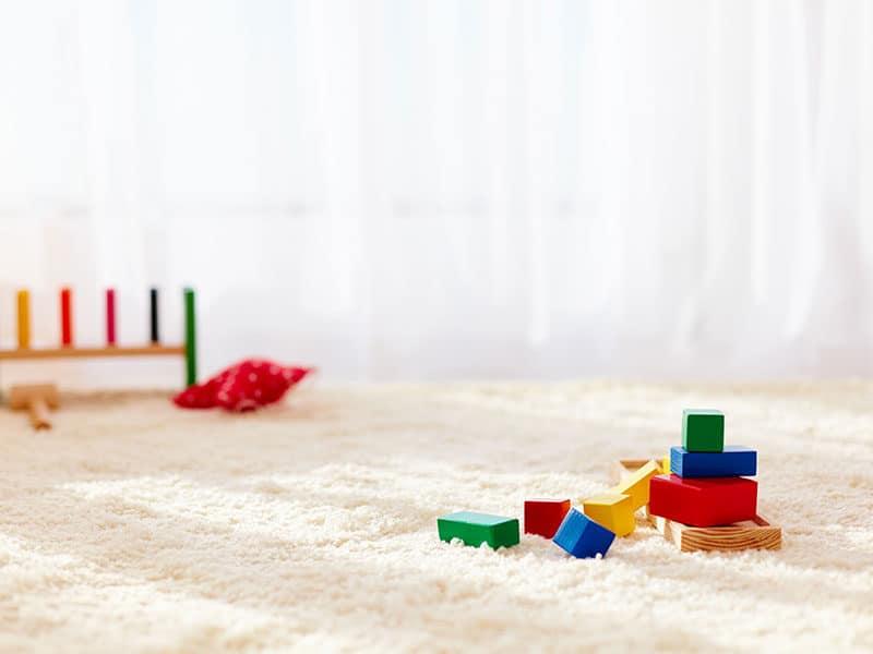 Toy Bricks Strewn on Carpet